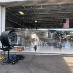 industrial cooling with plane, hangar